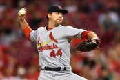 Then-St. Louis Cardinals pitcher Trevor Rosenthal pitching against the Cincinnati Reds