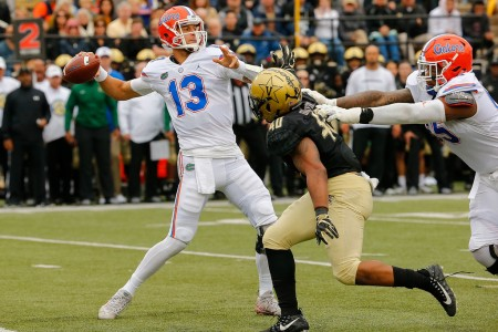 Florida Gators quarterback Feleipe Franks throwing the ball against the Vanderbilt Commodores