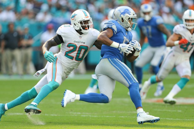 Then-Detroit Lions wide receiver Golden Tate playing against the Miami Dolphins