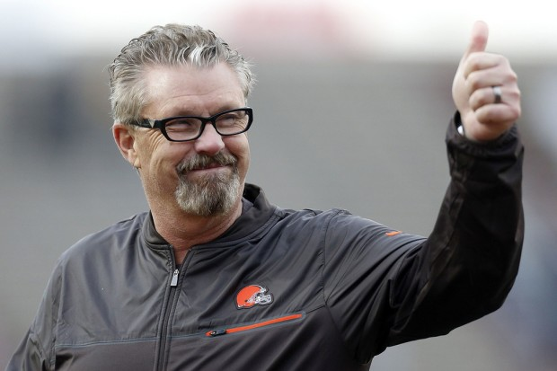 Then-Cleveland Browns defensive coordinator Gregg Williams reacts after the Reese's Senior Bowl
