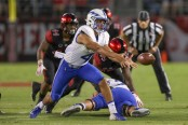Air Force Falcons quarterback Isaiah Sanders pitches the ball against the San Diego State Aztecs