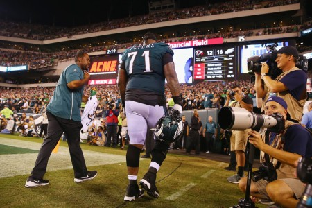 Philadelphia Eagles starting left tackle Jason Peters walking to the locker room after suffering an injury against the Atlanta Falcons
