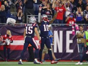 New England Patriots wide receiver Josh Gordon celebrates his touchdown reception from Tom Brady in the fourth quarter against the Indianapolis Colts
