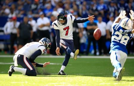 Houston Texans kicker Ka'imi Fairbairn kicking a field goal against the Indianapolis Colts