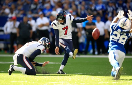Houston Texans kicker Ka'imi Fairbairn kicking a field goal against the Indianapolis Colts