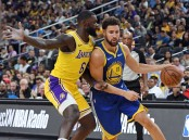 Golden State Warriors star Klay Thompson playing against the Los Angeles Lakers
