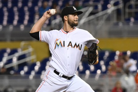 Miami Marlins relief pitcher Kyle Barraclough pitching against the Philadelphia Phillies
