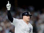 New York Yankees first baseman Luke Voit is seen celebrating a deep fly ball in the sixth inning that he thought was a home run
