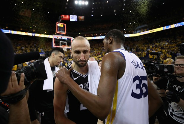 Legend Manu Ginobili walks off the court after the San Antonio Spurs lost to the Golden State Warriors in the 2018 playoffs