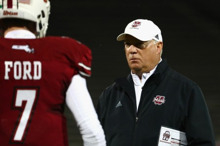 UMASS Minutemen head coach Mark Whipple coaching against the Ohio Bobcats