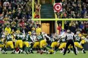 Green Bay Packers kicker Mason Crosby kicking a field goal to defeat the San Francisco 49ers
