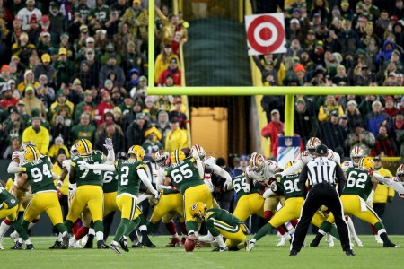 Green Bay Packers kicker Mason Crosby kicking a field goal to defeat the San Francisco 49ers