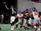 Atlanta Falcons quarterback Matt Ryan throws a pass against the New York Giants