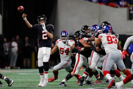 Atlanta Falcons quarterback Matt Ryan throws a pass against the New York Giants
