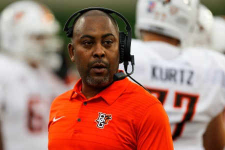 Bowling Green Falcons head coach Mike Jinks coaching against the Miami (Ohio) RedHawks