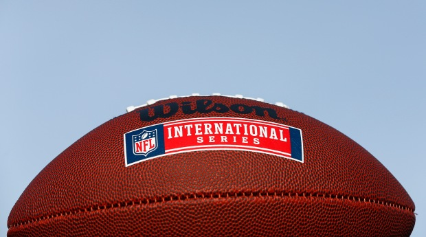 NFL International Series ball before the Jacksonville Jaguars and Buffalo Bills game