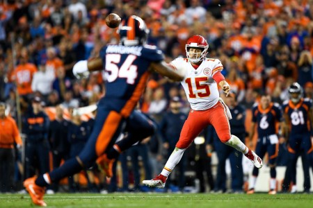 Kansas City Chiefs quarterback Patrick Mahomes II throws a pass against the Denver Broncos