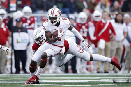 Wisconsin Badgers wide receiver Quintez Cephus running after making a catch against the Indiana Hoosiers