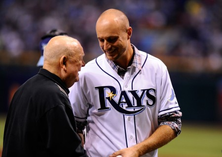 Former MLB player talks with Don Zimmer after he threw out a ceremonial first pitch at Game 4 of the ALDS