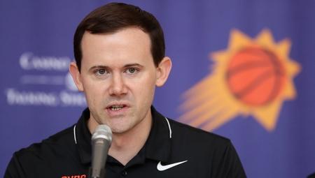 Phoenix Suns general manager Ryan McDonough talking to the media