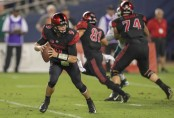 San Diego State quarterback Ryan Agnew looking to pass the ball in the second half against the Sacramento State Hornets