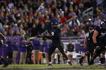 TCU Horned Frogs quarterback Shawn Robinson attempting a pass against the Texas Tech Red Raiders