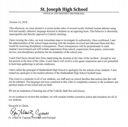 Copy of the St. Joseph letter after a scandal