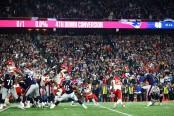 New England Patriots quarterback Stephen Gostkowski making the game-winning field goal against the Kansas City Chiefs