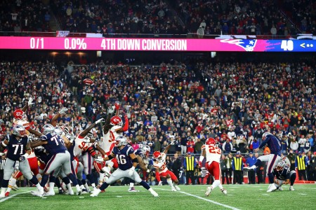 New England Patriots quarterback Stephen Gostkowski making the game-winning field goal against the Kansas City Chiefs