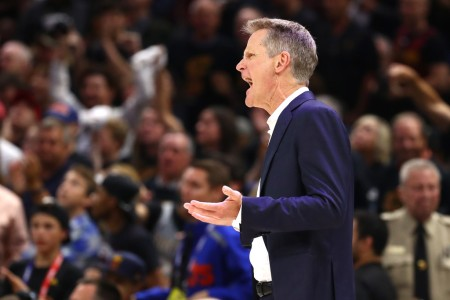 Golden State Warriors head coach Steve Kerr reacts to a call in the first quarter of Game 4 of the 2018 NBA Finals against the Cleveland Cavaliers