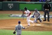Boston Red Sox infielder Steve Pearce walks in Game 2 of the World Series against the Los Angeles Dodgers