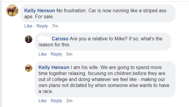Racer Mike Henson's wife Kelly Henson talks about Plan B is for sale