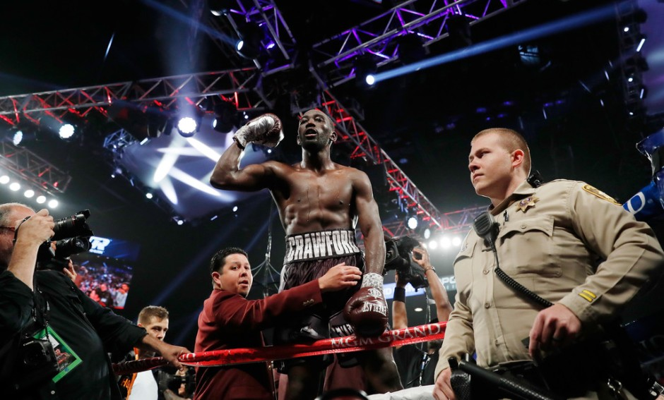 Boxer Terence Crawford celebrating his ninth-round TKO win over Jeff Horn for the WBO welterweight title