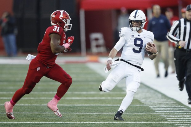 Penn State Nittany Lions quarterback Trace McSorley runs the ball against the Indiana Hoosiers