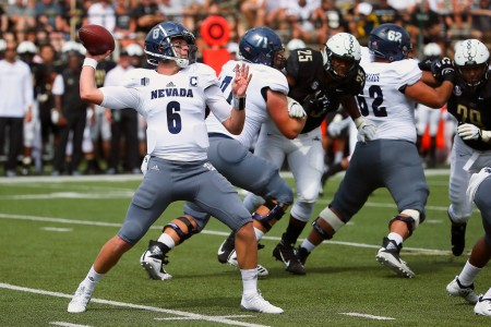 Nevada Wolf Pack quarterback Ty Gangi throws the pass against the Vanderbilt Commodores