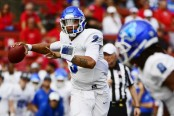 Buffalo Bulls quarterback Tyree Jackson looks to throw a pass against the Rutgers Scarlet Knights