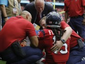 Houston Texans wide receiver Will Fuller V talking to team medical personnel after suffering a torn ACL
