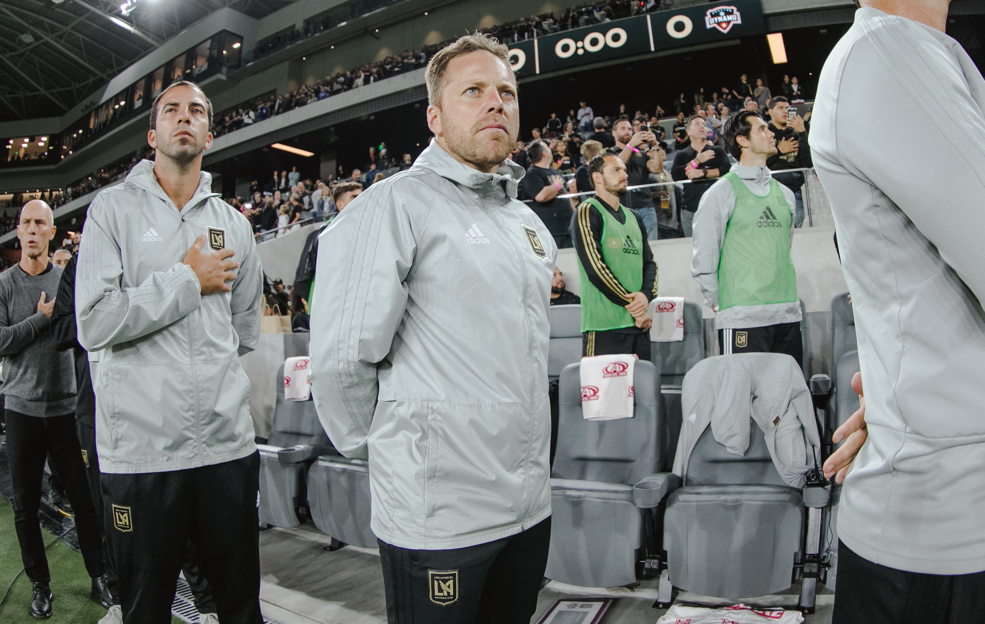 Former LAFC Assistant Coach Marc Dos Santos looks on during the national anthem against the Houston Dynamo