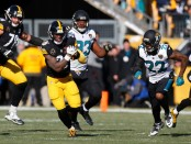Holdout Pittsburgh Steelers running back Le'Veon Bell previously running the ball against the Jacksonville Jaguars