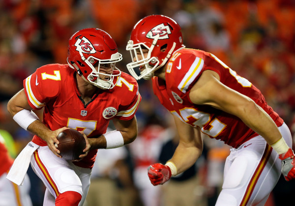 Former Kansas City Chiefs quarterback Aaron Murray playing in preseason action against the Green Bay Packers