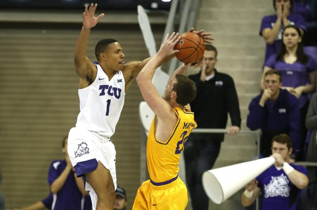 Lipscomb Bisons guard Garrison Mathews attempts a shot against the No. 18 TCU Horned Frogs
