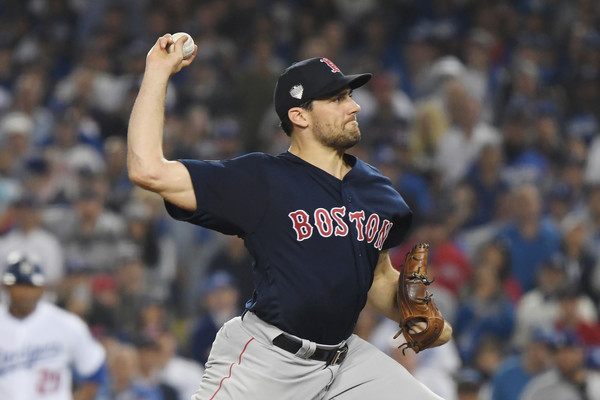 Boston Red Sox pitcher Nathan Eovaldi pitching against the Los Angeles Dodgers in the World Series