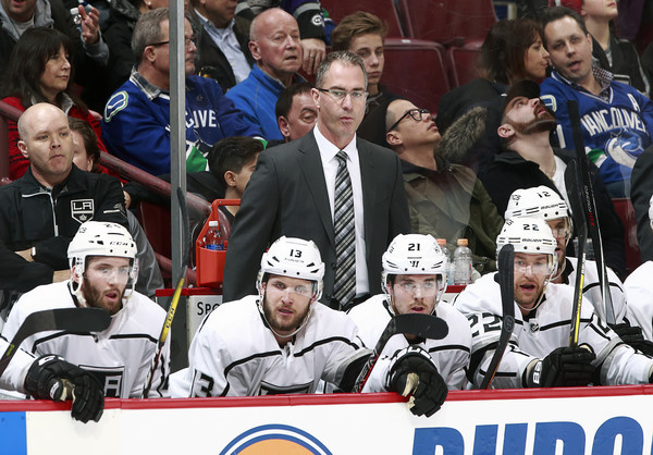 Former head coach John Stevens coaching the Los Angeles Kings against the Vancouver Canucks