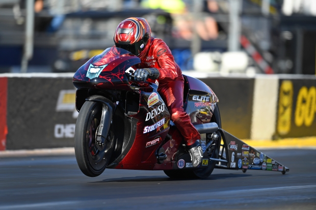 Denso/Elite Performance Pro Stock Motorcycle rider Matt Smith racing on Friday at the Auto Club NHRA Finals