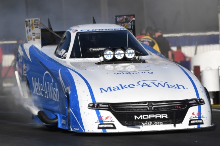 Johnson Jr. atop Funny Car on Friday with his second qualifying pass