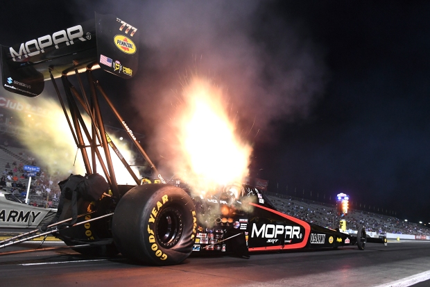 Mopar Dodge Top Fuel Dragster pilot Leah Pritchett racing on Friday at the Auto Club Finals