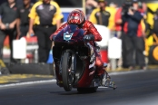 Denso/Elite Performance Pro Stock Motorcycle rider Matt Smith racing on Saturday at the Auto Club NHRA Finals