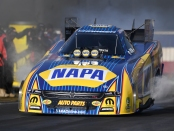 NAPA Auto Parts Funny Car pilot Ron Capps racing on Saturday at the Auto Club NHRA Finals