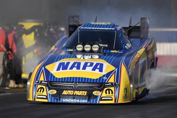 NAPA Auto Parts Funny Car pilot Ron Capps racing on Saturday at the Auto Club NHRA Finals