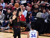 Former Cleveland Cavaliers swingman Kyle Korver taking a jumper against the Golden State Warriors in the 2018 NBA Finals
